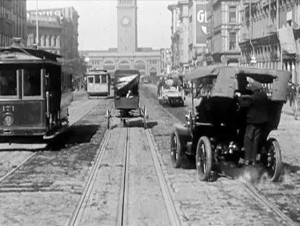 View of the Ferry Building down Market Street in 1906