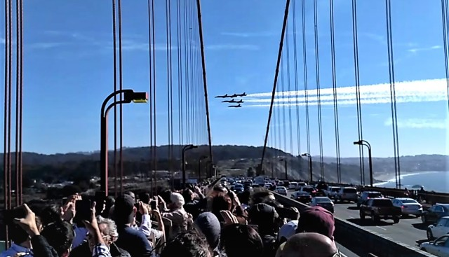 Blue Angels viewed from the Golden Gate Bridge