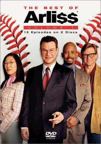 "DVD cover of ""The Best of Arli$$,"" showing Sandra Oh, Robert Wuhl, Michael Boatman, & Jim Turner"