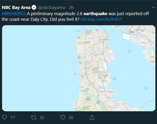 """A tweet from NBC Bay Area reporting a preliminary magnitude 2.8 earthquake just off the coast near Daly City, """"Did you feel it?"""""""