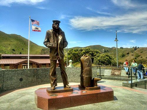 Lone Sailor memorial, brass statue of sailor & seabag