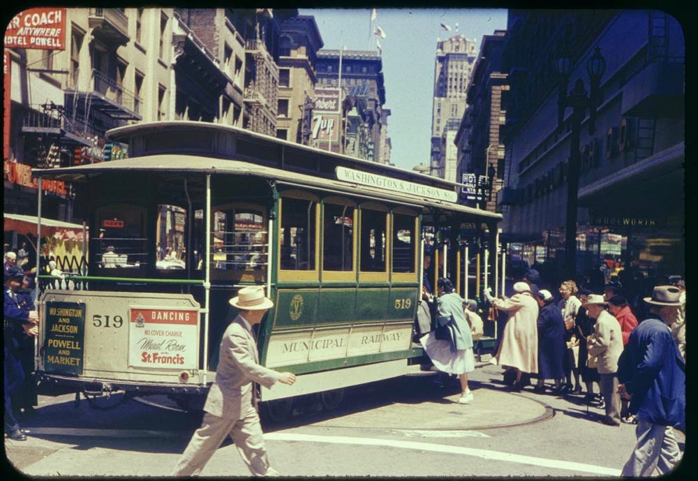 Vintage photo of cable car turnaround