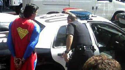 Hollywood Boulevard's Superman being arrested